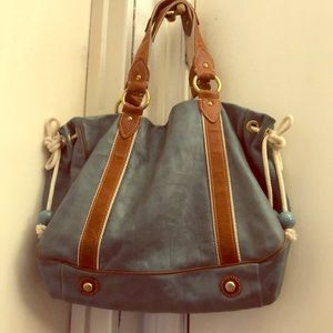 Marc Jacobs blue soft leather shoulder bag